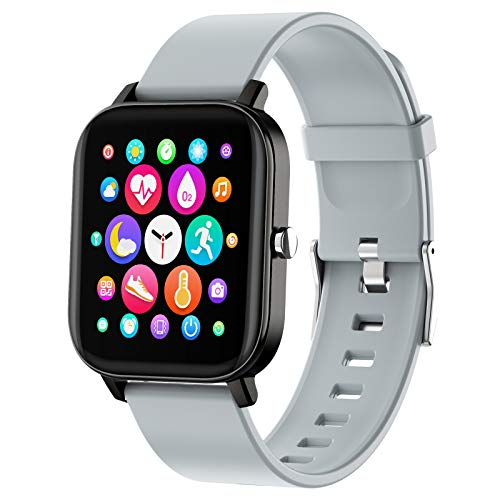 PUBU Smartwatch,Orologio Fitness Tracker Uomo Donna, Bluetooth Smart Watch Cardiofrequenzimetro da Polso Schermo Orologio Fitness Impermeabile IP68