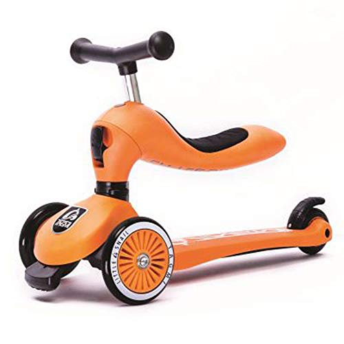 Giow Scooter para Niños, Puede Sentarse Y Pararse, Ajuste De Altura De Tres Velocidades, Freno De Rueda Trasera,Orange