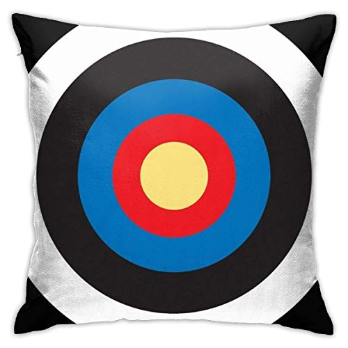 YiZheng Bulls Eye, On Breast, Red, White, Blue, Roundel, Target, Small On Black. Square Pillowcase Case Throw Pillowcase Sofa Cushion Car Cushion Indoor Decorations Chair Pillowcase