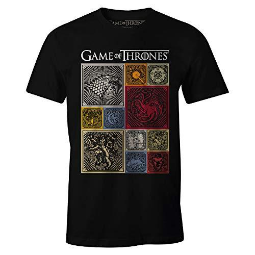 Game of Thrones Herren T-Shirt Häuser Wappen Baumwolle schwarz - L