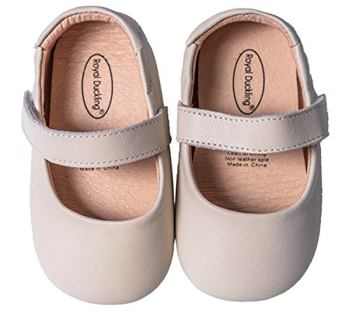 Mowoii Baby Girls Boys Leather Mary Jane Walking Shoes Prewalker Princess Wedding Dress Shoes Ballet Flats,Beige 6-9 Months/15