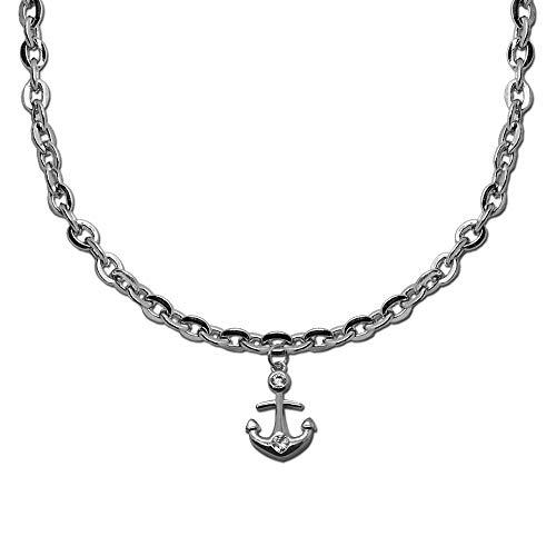 tumundo Chaîne de Cheville 22cm Pied Bijoux Bracelet Cerise Ancre Argent Femmes Filles Figaro Sandal Anklet Chevillère, modèle:Mod 2