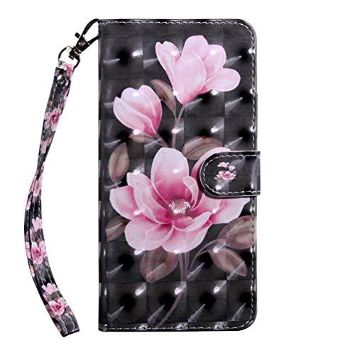 Hnzxy Kompatibel mit Nokia 2.2 2019 hülle Leder Tasche Handyhülle Bunt Glitzer PU Leder hülle Schutzhülle Flip Hülle Tasche Magnetic Lederhülle Etui Handytasche für Nokia 2.2 2019,Pink Blumen