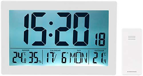 infactory Wanduhr: XL-Funkuhr mit Doppel-Wecker, Thermo-/Hygrometer, Tag und Datum, weiß (Funkuhr Digital)