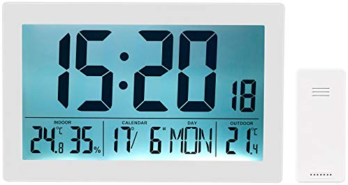 infactory Jumbo-Wanduhr: XL-Funkuhr mit Doppel-Wecker, Thermo-/Hygrometer, Tag und Datum, weiß (Wanduhr Funk mit Beleuchtung)