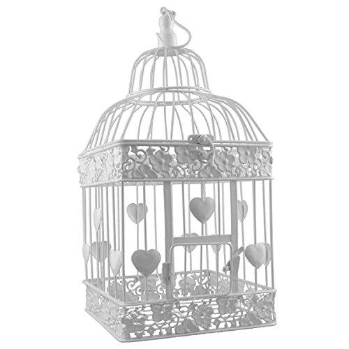 Cage à oiseaux en métal carré blanc P-340 grand avec des coeurs