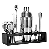 Inkesky Cocktail Shaker Set with Bamboo Stand, Stainless Steel (Silver)