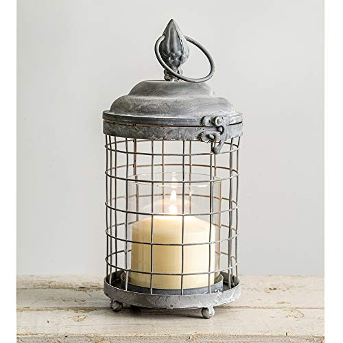 Rounded Cage Candle Lantern - Metal Lantern Candle Holder, Rustic Indoor / Outdoor Light for Your Home Decor - Modern Rustic Vintage Farmhouse Style (1)
