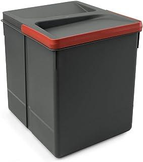EMUCA Basura Cubos de Reciclaje para Base Recortable contenedor de Alto 266mm y Capacidad 15 litros Gris H 266 mm (1 x...