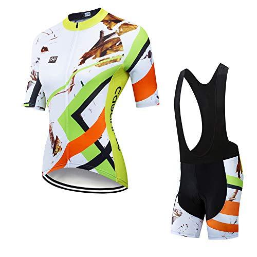 FJLR Ropa Ciclismo Hombre Verano para Deportes Al Aire Libre Ciclo Bicicleta Manga Corta con 9D Gel Pad Babero Pantalones Cortos,B,L