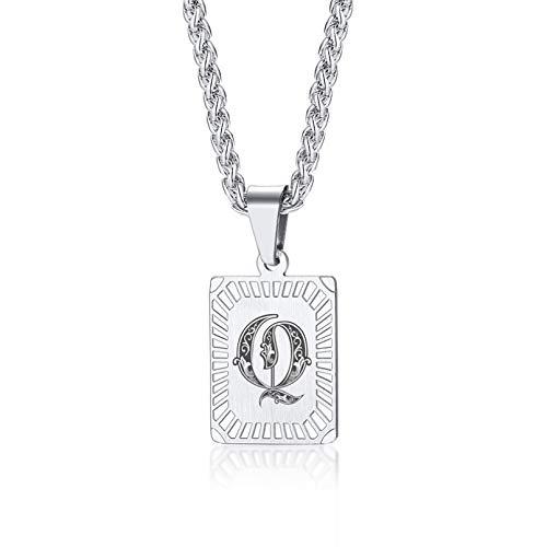 YAMAO Hombre Collar,Personalizar AZ 26 Iniciales Letra Colgante Collar para Hombres Mujeres Grabado Personalizado Alfabeto Encanto Cadena de eslabones 24'joyería