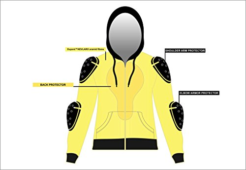 Damen Motorradjacke mit Kapuze – Komplett gefüttert – DuPont Kevlar Aramidfasern – CE-Protektoren – Schwarz – 46 (Herstellergröße:18) - 7