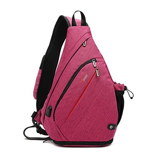 Tudequ Sling Bag Crossbody Backpack, Shoulder Bag Hiking Sports Backpack, Casual Daypack with WET Pocket for Men & Women (ROSE)