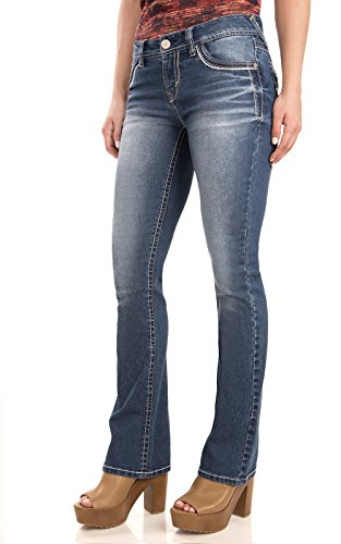 WallFlower Women's Juniors Classic Legendary Stretch Bootcut Denim Jeans in Keller Size:15