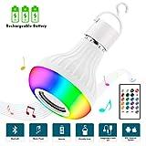 Ampoule Musique Bluetooth, JOLVVN Lampe Haut-Parleur Rechargeable LED Lampes Ambiante...