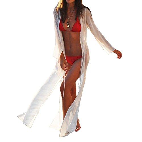 YL Las Mujeres Vestido De Playa Blanca De Manga Larga Túnica Bikini Encubrimientos, Pareos