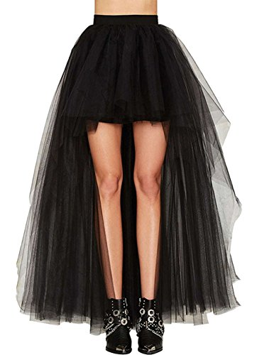 Damen Vintage Steam Punk Rock titivate Gothic Chiffon Spitze Cocktail Party Kostüm Slip Schwarz Mesh Hohe Taille Frauen Lange Rock (M:EU34-35/Taille:68cm)