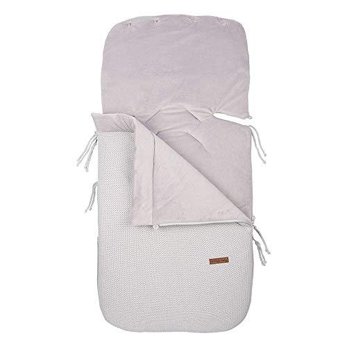 BO Baby's Only - 0+ Fußsack Autositz aus Baumwolle - Gefüttert - für 5- und 3-Punkt-Gurten - für Jungen und Mädchen - Silbergrau