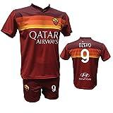 Conjunto de camiseta de fútbol Roma Dzeko 9 + pantalón estampado con número 9 réplica autorizada 2017-2018 para niño (tallas 2 4 6 8 10 12) adulto (S M L XL), rojo, X-Large