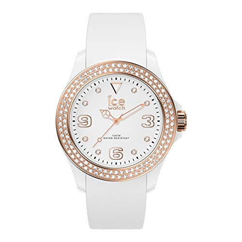 Ice-Watch - ICE star White rose-gold - Weiße Damenuhr mit Silikonarmband - 017233 (Medium)