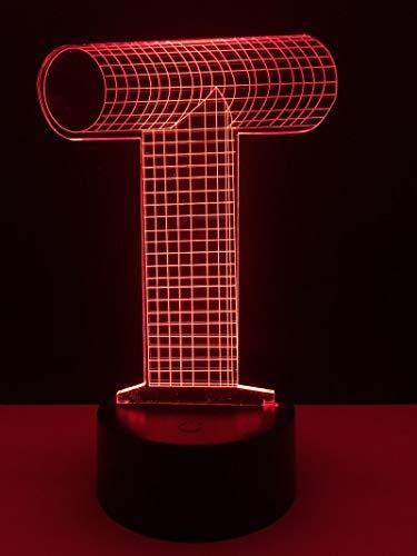 Lámpara De Ilusión Óptica 3D Letra Inglesa T Led Luz De Noche 16 Lámpara De Tactil De Cambio De Color Niños Cumpleaños Fiesta Regalos Casa Decoración, Usb Recargable Con Control Remoto