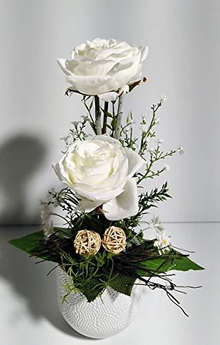 Blumengesteck Tischgesteck Muttertag Geschenkidee Tischdeko Rosen Rosengesteck Kunstblume Dekoblume künstlich Kunst Blume unecht Topf H 34 cm weiß 113