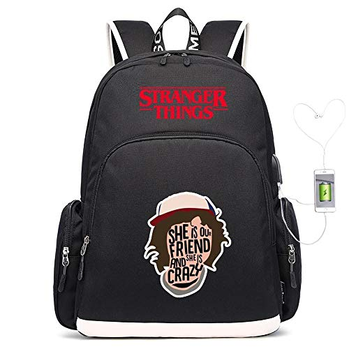Backpack School Stranger Things Printed College Badge Laptop Bag For Adults/Elementary/middle School Students With Charging Hole Black-18 inches