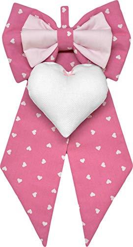 Corredino Neonato Lazo de nacimiento rosa con corazones para niña para bordar a punto de cruz sobre corazón de tela Aida – Lazo para nacimiento personalizado (rosa, estándar 23 x 45 cm)