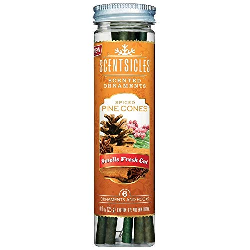 Christmas Tree Spiced Pine Cone Scentsicles 2 Tubes of Scented Hanging Ornaments - Spiced Pine Cone