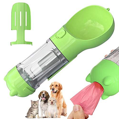 ペット 給水器 犬 ウォーターボトル ペット Caseeto 多機能 ウォーターボトル 2 in1 安全素材採用 大容量 排泄物衛生回収 スコップつき 操作簡単 ロス防止 (グリーン)