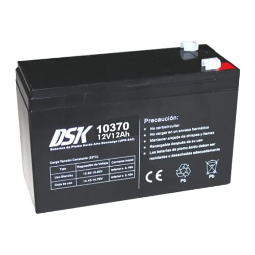 DSK 10370 - Batería Plomo Alta Descarga AGM Sellada de 12V y 12Ah Batería Ideal para UPS-SAI, Sistemas de Seguridad y comunicación, Luces de Emergencia…