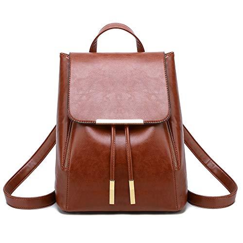 Wink Kangaroo Schultertasche, Rucksack, Reisetasche, aus Polyurethan-Leder, für Damen, Mädchen, Braun (Brown 2), Medium