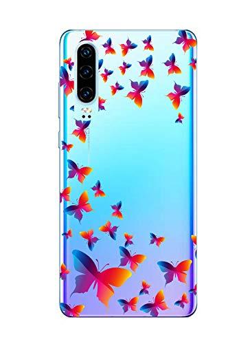 Oihxse Funda Conpatible con OnePlus 6T Silicona Transparente Dibujos Mariposa Cover Suave TPU Gel Cristal Clear Delgada Anti- Arañazos Protección Carcasa Case,Colorido 1