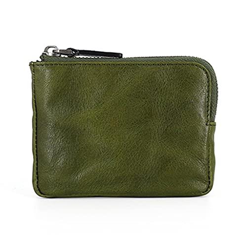 Monedero de cuero genuino para hombres, monedero con bolsillo para tarjetas, mini monedero con cremallera, el mejor regalo (color verde)
