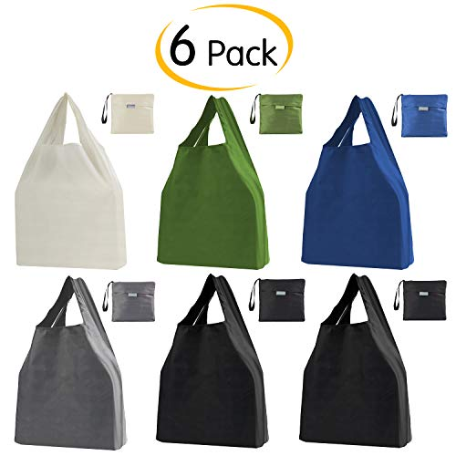 Moonflor 6 Pack Reusable Grocery Bags Foldable Tote Shopping Bags with Pouch Bulk Ripstop Polyester EcoFriendly Bags Washable Durable