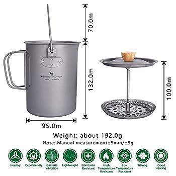 Boundless Voyage Ti3044D Tasse à café de camping en titane 900 ml