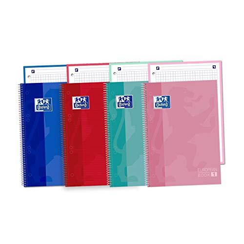 Oxford Classic Europeanbook-1, Pack de 5 Cuadernos Microperforados A5+ (148 x 210 mm), Tapa Extradura, Cuadrícula 5x5, Colores surtidos