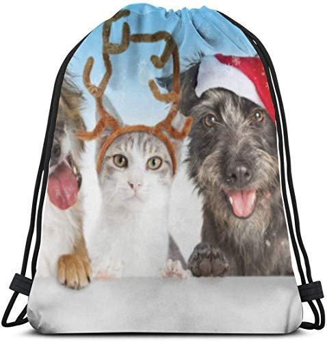 KINGAM Bolsas de cordón personalizadas Cute Navidad perros y gatos bolsa de cordón gimnasio bolsa de baile mochila para senderismo playa bolsas de viaje