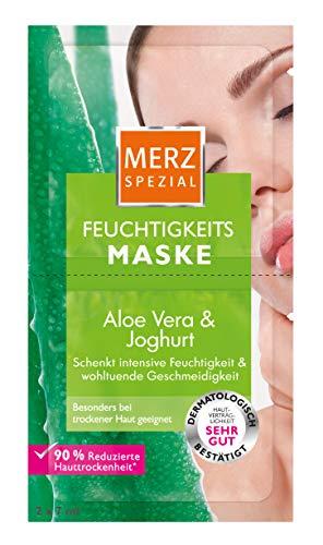 Merz Spezial Feuchtigkeits-Maske – Gesichtsmaske mit Aloe Vera, Joghurt, Panthenol & Hyaluronsäure – Verbessert die Hautelastizität – 2 x 7ml