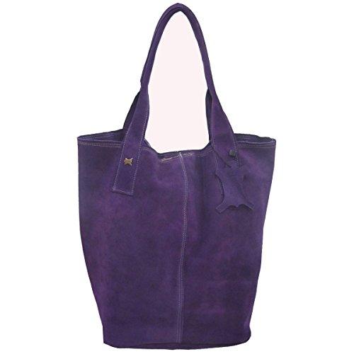 La Auténtica BAG1 - Bolso serraje afelpado viola