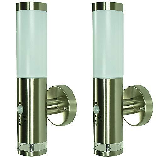 2 x LED-Außen-Garten-Wand-Leuchte LISA 2 mit Hauptlicht und Grundlicht und Bewegungsmelder Balkon-Terrassen-Flur-Garangen-Treppen-Leuchte-Lampe