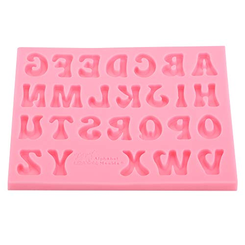 Silicone Candy Mold Alphabet Baking Cake Chocolate 3D 26 Letters Pink Mold