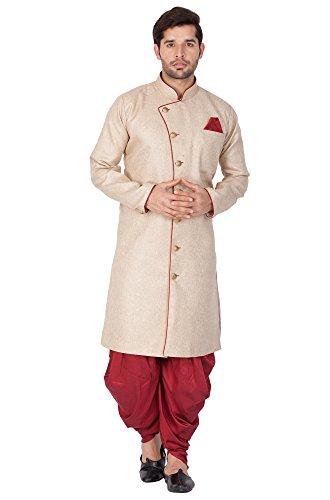 Vastramay Men's Black Cotton Blend Sherwani Set