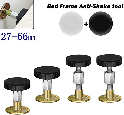 AAFERR Bed Frame Anti-Shake Tool, Adjustable Threaded Anti Shake Fixer Headboard Stoppers. Bedside Antishake Telescopic Support Stabilizer for Room Wall, Beds. Cabinets, Sofas, (27-66mm 4 Pack)