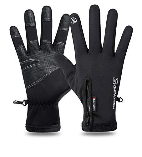 Touch-Screen-Fahrradhandschuhe, leichte Lauf-Thermo-Handschuhe, warmes Innenfutter, rutschfeste Fahrhandschuhe, Winterhandschuhe für Herren und Damen, für Sport, Wandern, Reiten, Arbeiten (XL)