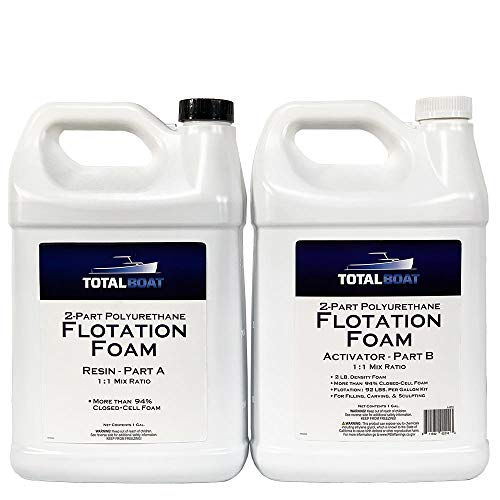 TotalBoat 2 Lb Density Expanding Foam Kit, 2 Part Closed Cell Polyurethane Liquid Foam for Boat and Dock Flotation, Insulation, Soundproofing and Filling Voids (2 Gallon Kit)