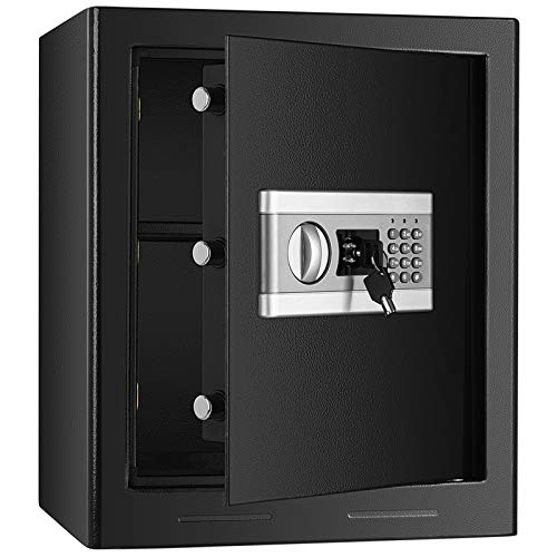 1.53 Cubic Feet Safe Security Box, Fireproof and Waterproof Safe Cabinet, Digital Combination Lock Safe with Keypad LED Indicator, for Home, Business or Travel (1.53)