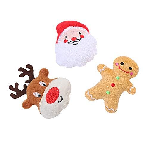 YANLE 3 Stück Katzen Plüschtiere Ausgestopfte Baumwolle Haustier Puppe Weihnachten Elch Santa Claus Lebkuchen Mann Puppe für Hunde Und Katzen