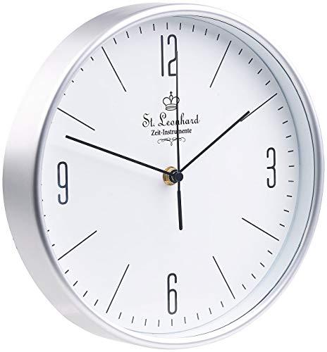 St. Leonhard Uhr Funk: Klassische Funk-Wanduhr mit großen Ziffern und flachem Design, Ø 25 cm (Küchenfunkuhr)