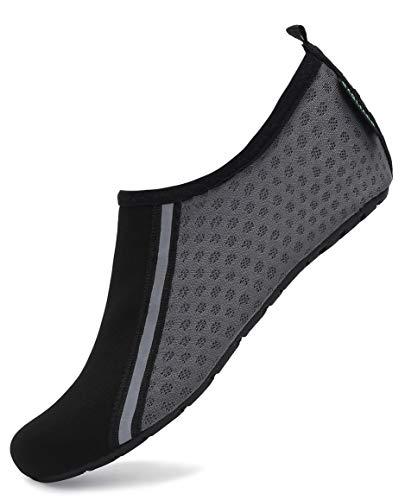 SAGUARO Escarpines Hombre Escarpines Piscina Mujer Secado Rápido Antideslizante Zapatos para Deportes Acuaticos 031 Gris Gr.42/43